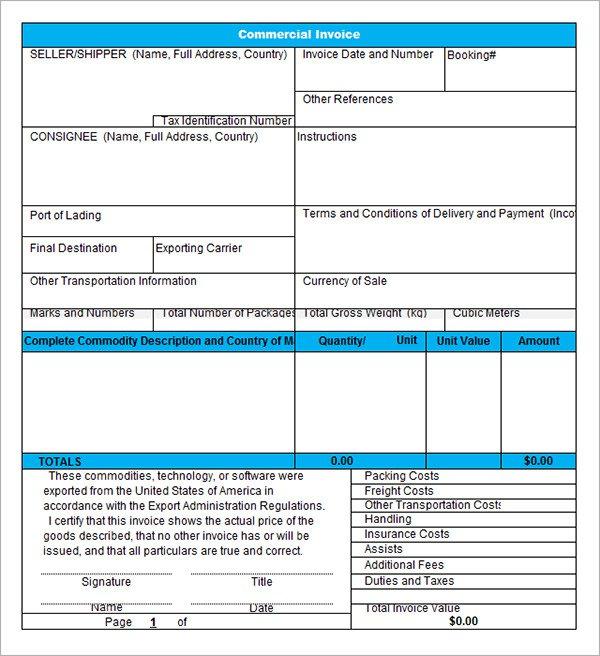 free commercial invoice template - Vatozatozdevelopment