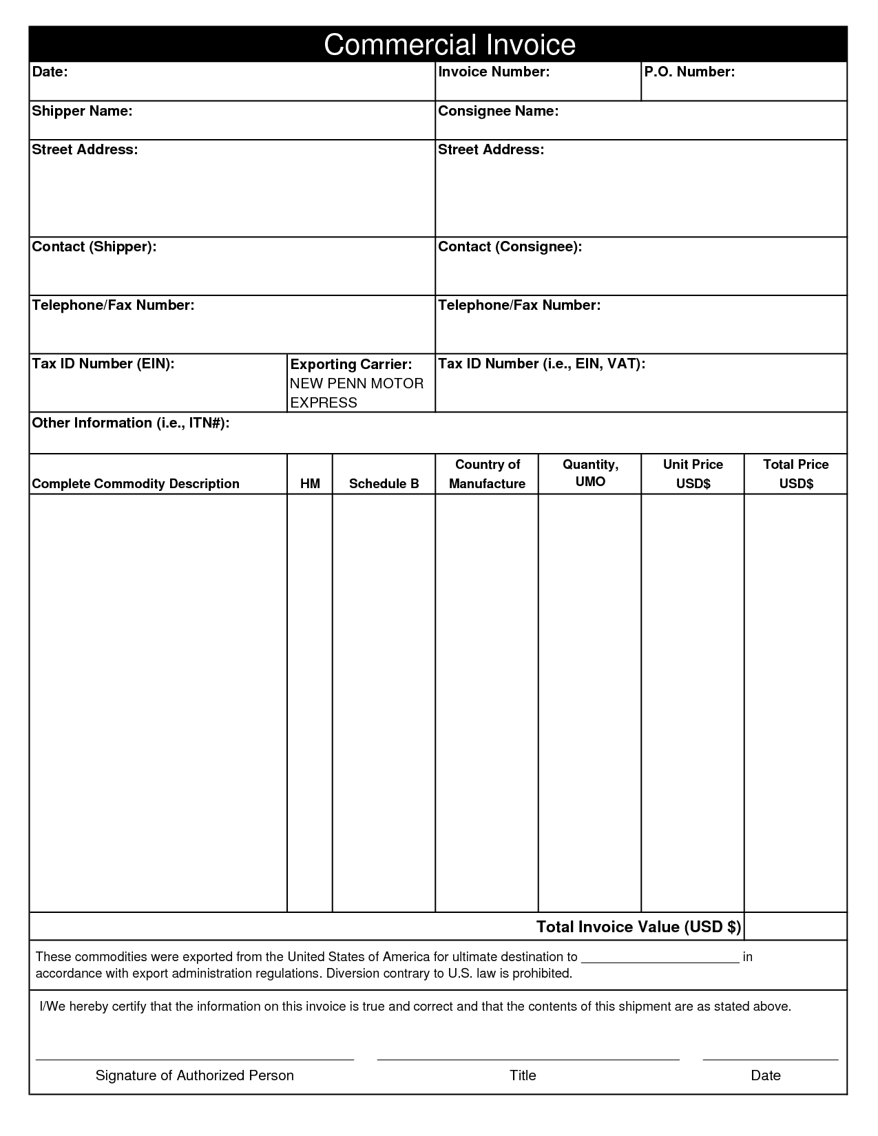 28 Blank Invoice Templates Free Premium Templates Commercial Invoice Template Free Invoice Example