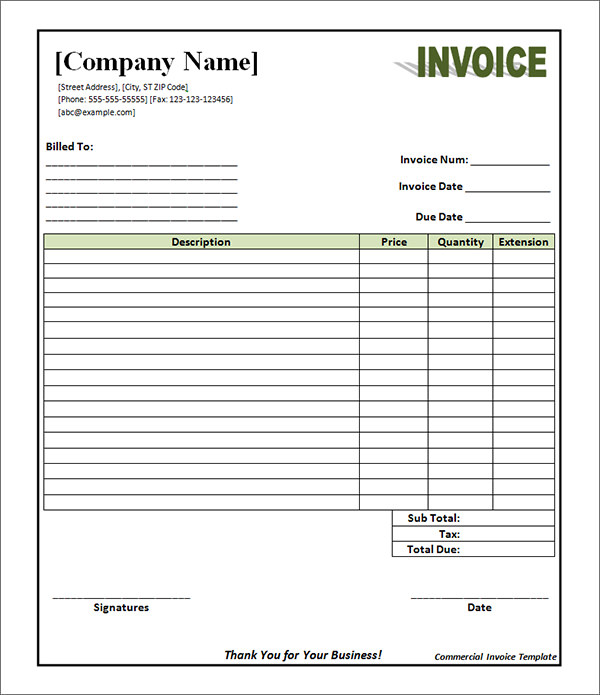 Commercial Invoice Template Pdf invoice example - Free Pdf Invoice