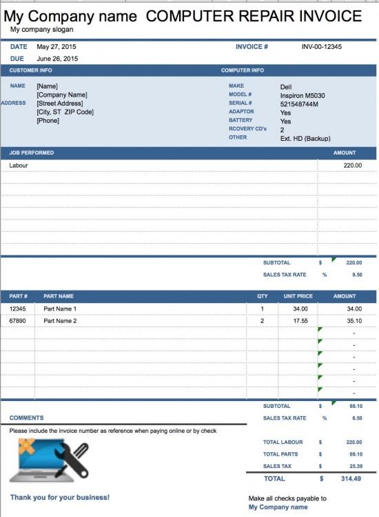 Computer Repair Invoice Template Pdf invoice example - auto repair invoice templates
