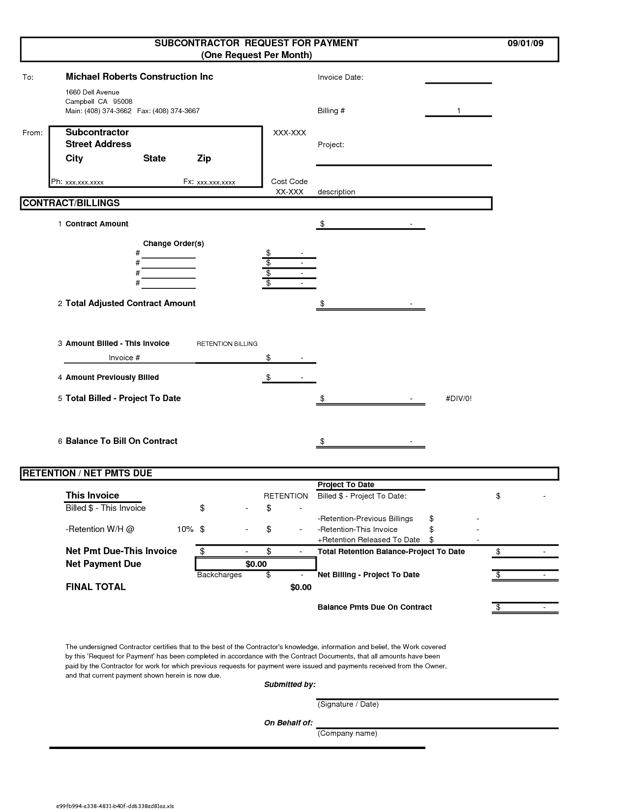 Construction Contract With Subcontractor – Free Printable Construction Contracts