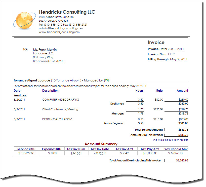 Consultant Invoice Template invoice example - consulting invoice template