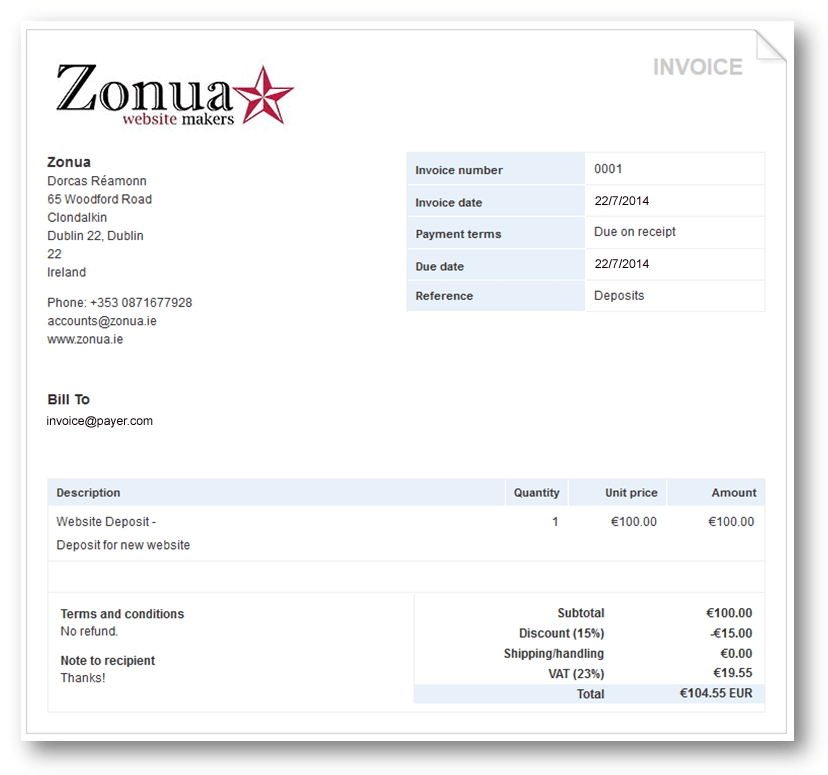 Basic Invoice Template Deposit Invoice Template Invoice Example