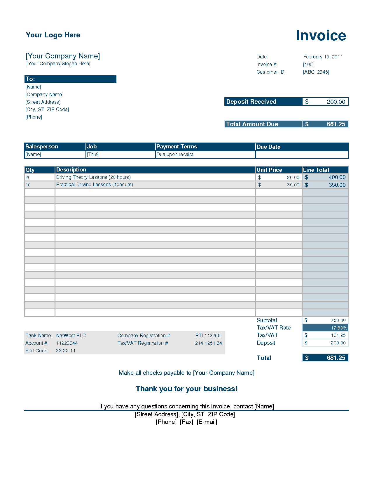 Free Blank Invoice Templates 10 Sample Forms To Download Deposit Invoice Template Invoice Example