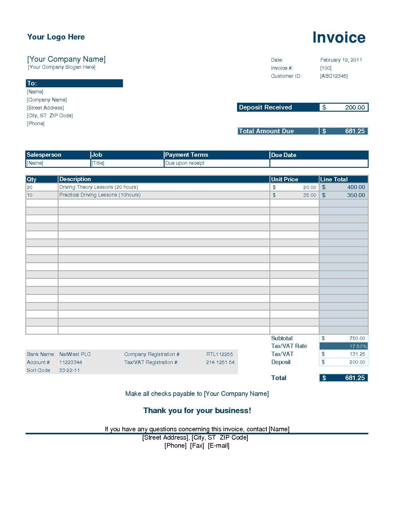 Service Invoice Template Deposit Invoice Template Invoice Example