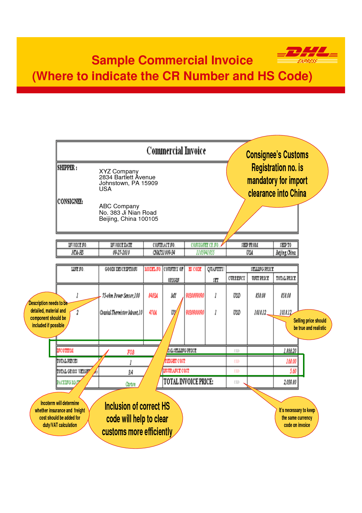 Order Form Or Invoice Form In Microsoft Excel Dhl Commercial Invoice Template Invoice Example