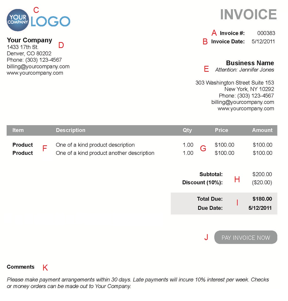 Free Invoice Templates Sample Invoices Created In Ms Electronic Invoice Template Invoice Example