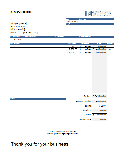 Excel Invoice Template invoice example - it invoice template