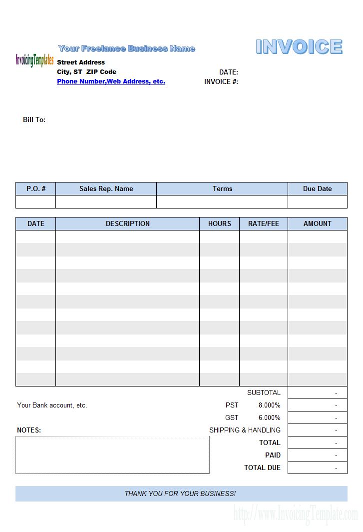 freelance invoice template uk