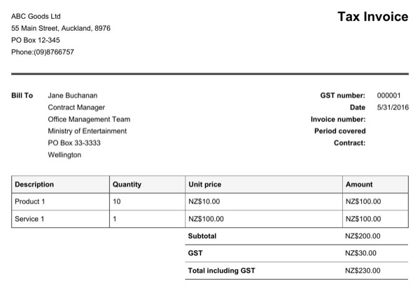 Gst Invoice Template Nz invoice example - australian invoice template