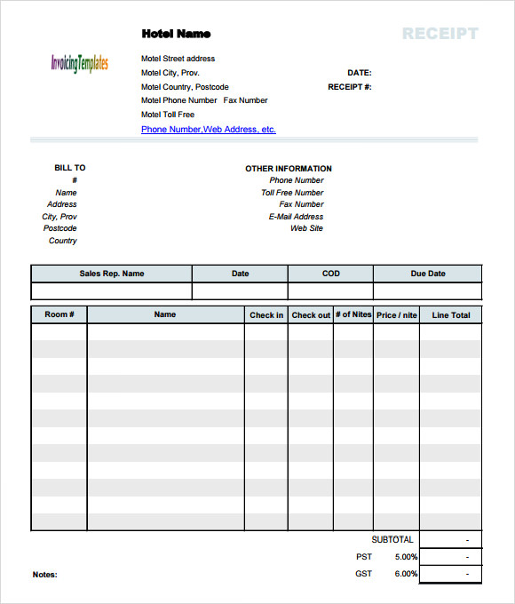 Hotel Invoice Template invoice example