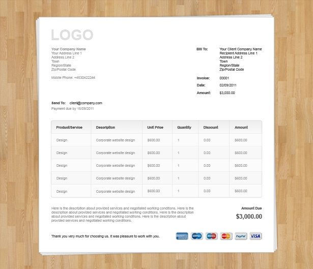 Html Invoice Template Free Download invoice example - pages invoice template