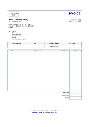 Invoice Receipt Template Word invoice example - Invoice Receipt Template Word