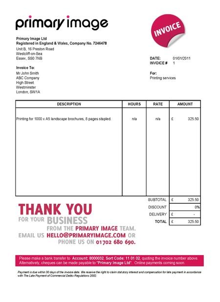 free invoice template uk