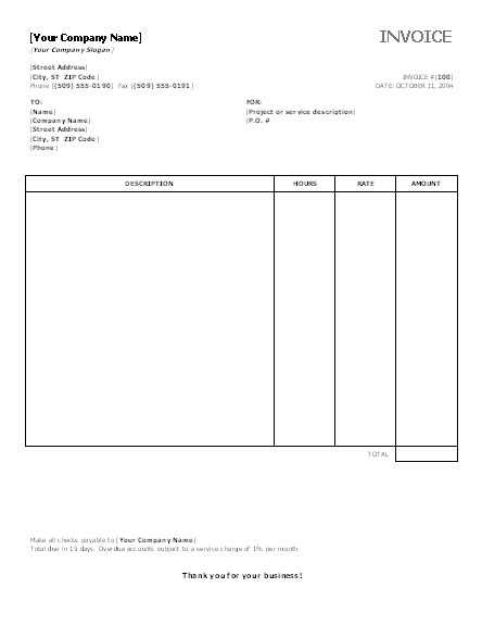 Printable Invoice Templates Invoice Template Word 2003 Invoice Example