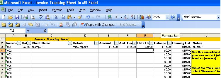 Invoice Tracking Template Excel invoice example - excel job sheet template