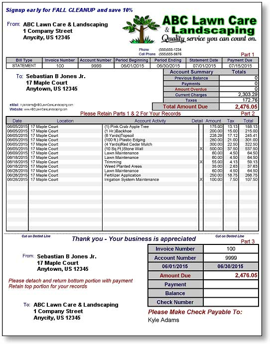 Blank Invoice Template Printable Word Excel Invoice Lawn Care Invoice Template Invoice Example