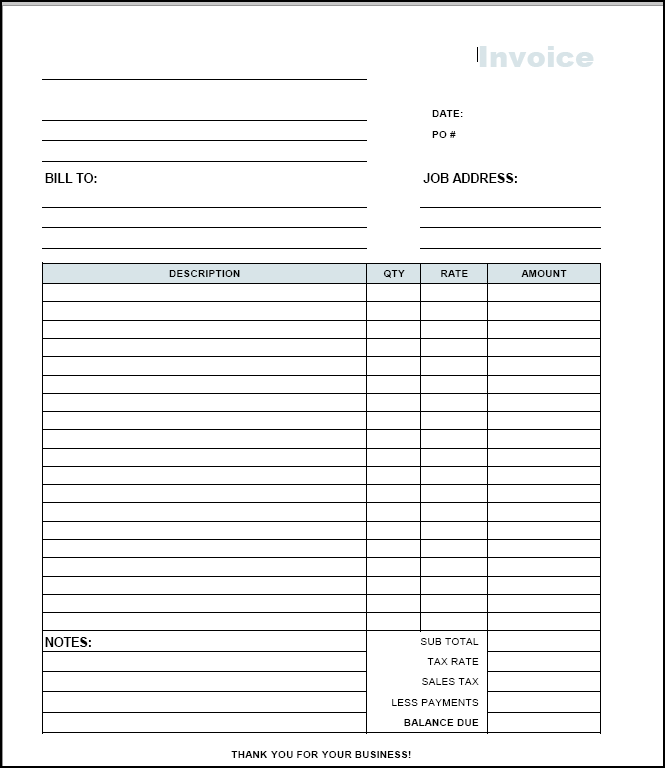 19 Blank Invoice Templates Microsoft Word Hloom Pdf Invoice Template Invoice Example