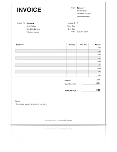 Free Blank Invoice Templates 10 Sample Forms To Download Personal Invoice Template Invoice Example