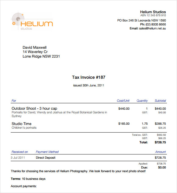 Photography Invoice Template Word invoice example