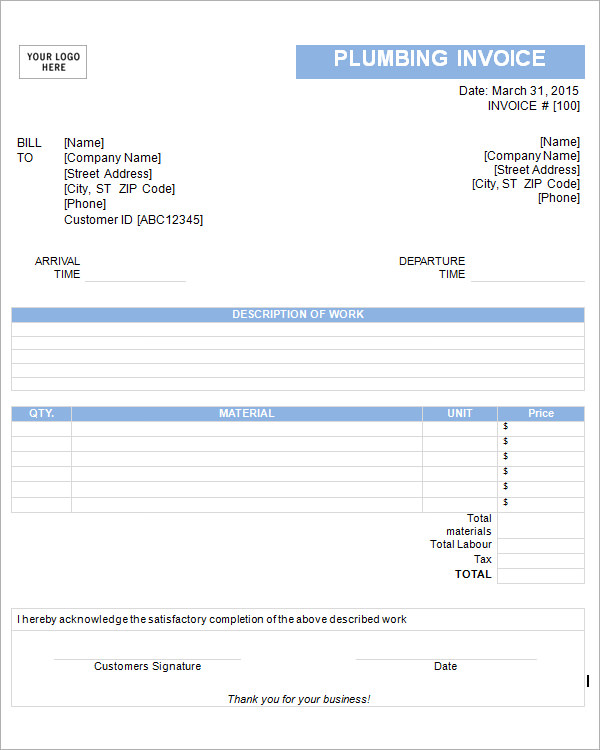 free plumbing invoice template - Minimfagency