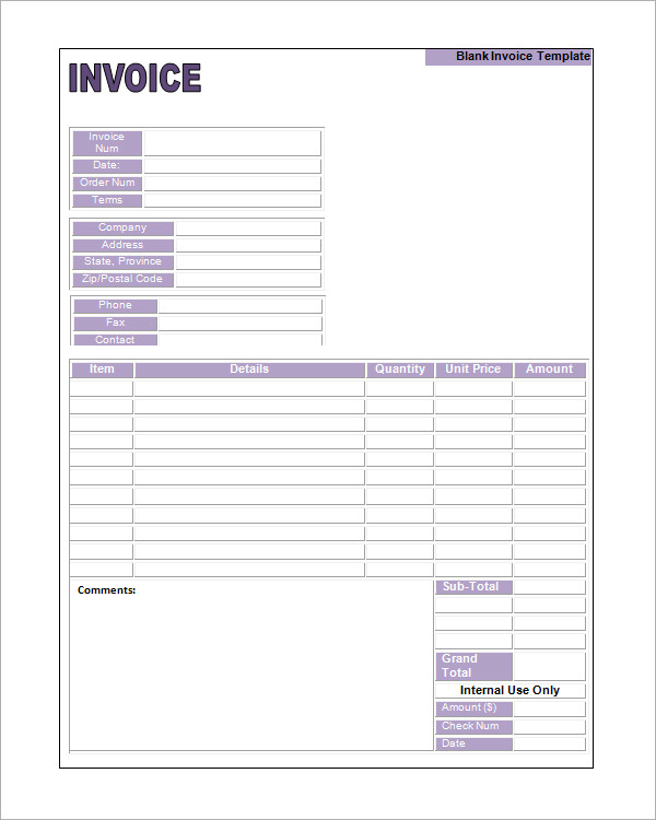Blank Invoice Template 7 Sample Invoices To Download Free Printable Invoice Template Invoice Example