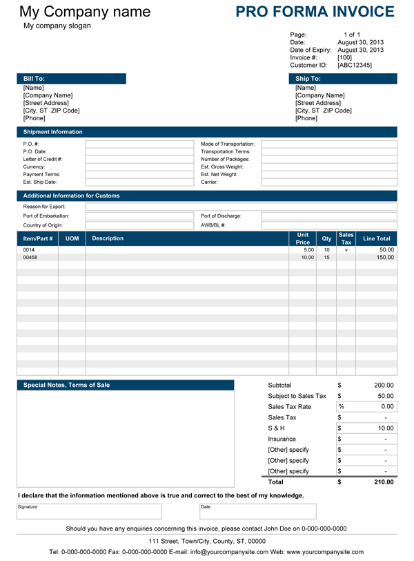 proforma commercial invoice