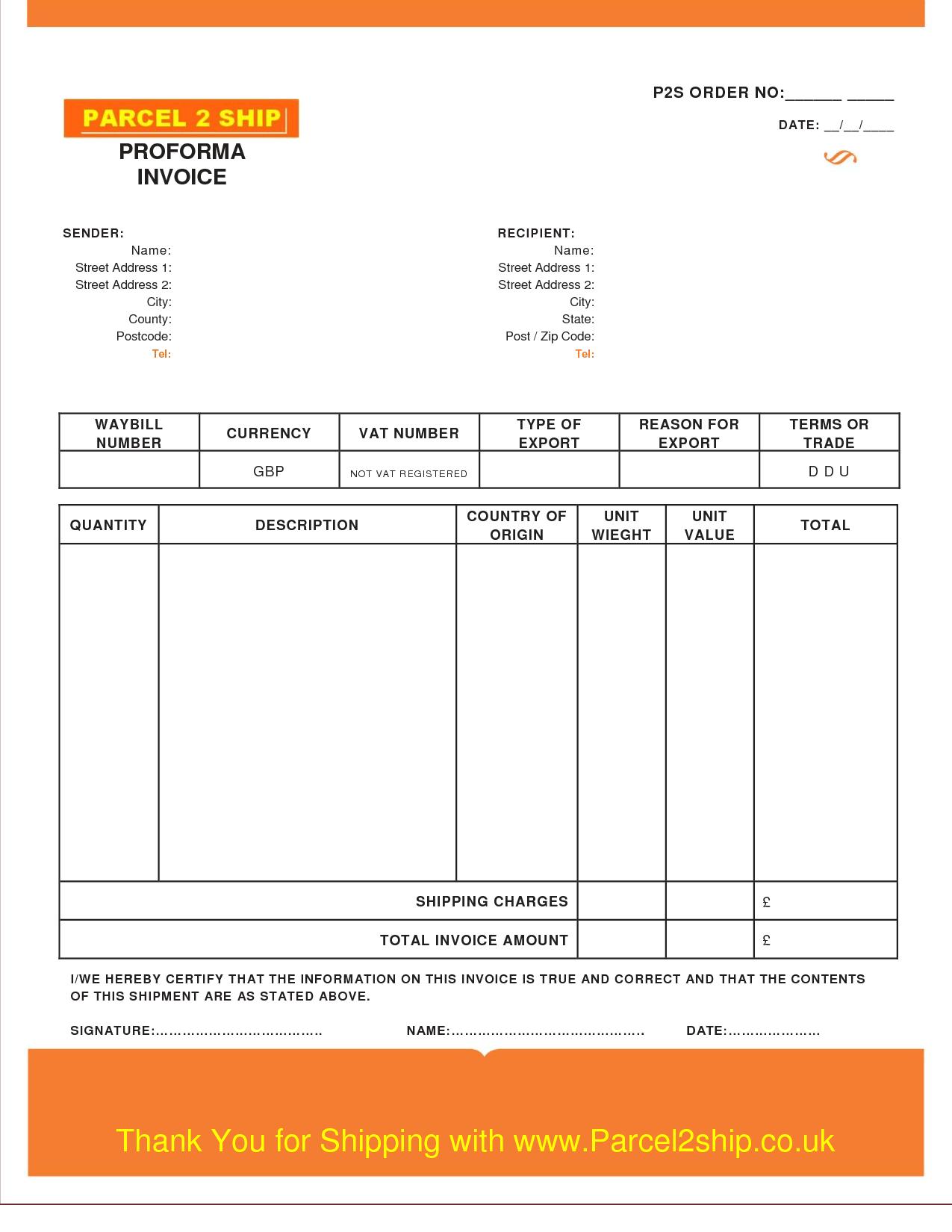 Proforma Invoice Template Free Excel Word Pdf Proforma Invoice Template Word Doc Invoice Example