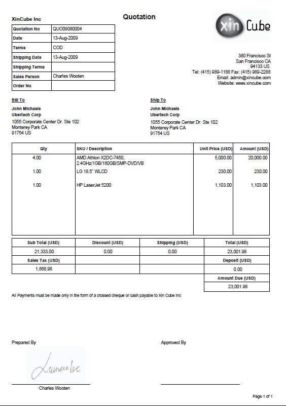 Quote Invoice Template invoice example - free online invoice maker