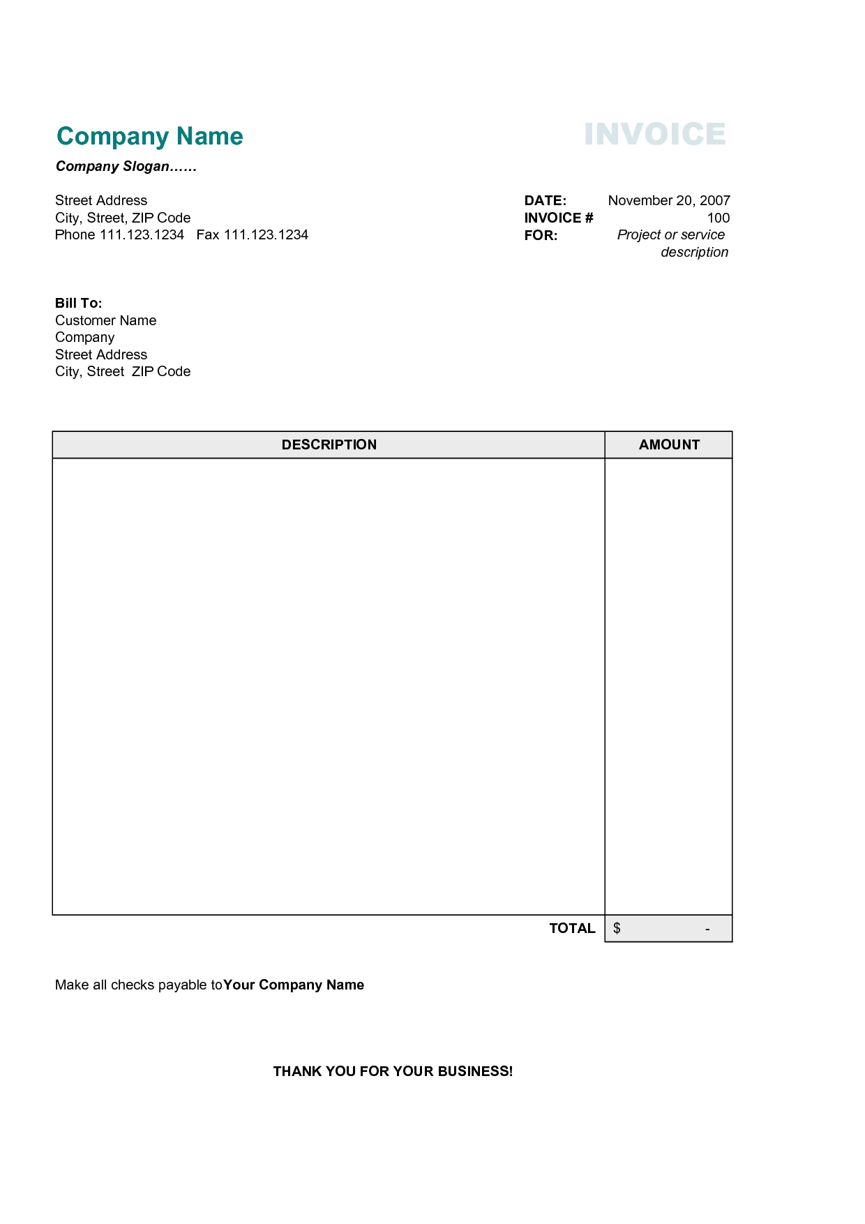 Simple Invoice Template Free Invoice Example