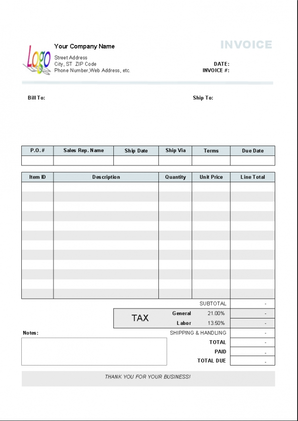 design invoice example
