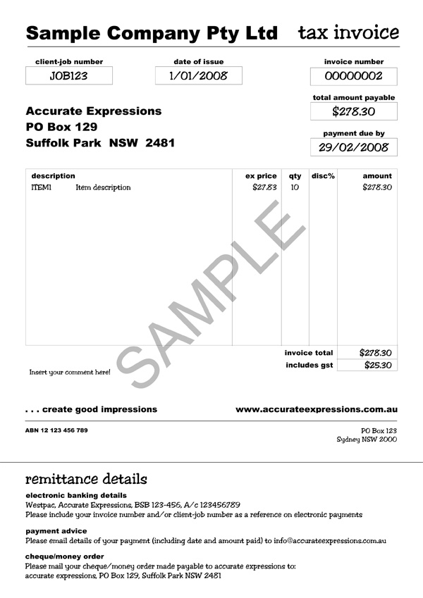Free Invoice Form Or Sample Microsoft Word Templates Tax Invoice Template Australia Invoice Example
