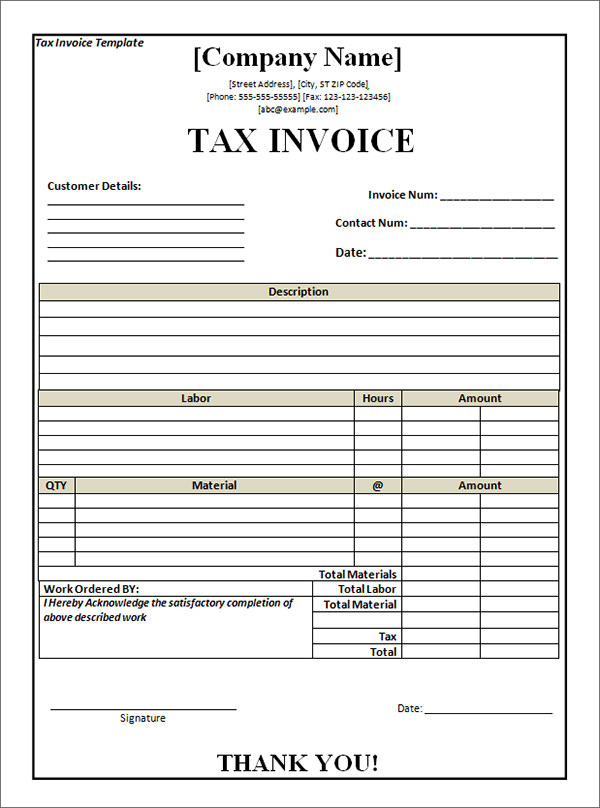 Tax Invoice Template Free Download invoice example