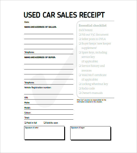 Used Car Invoice Template invoice example - invoice models
