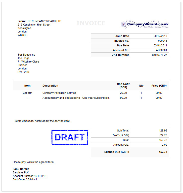 Vat Invoice Template Uk invoice example - create an invoice form