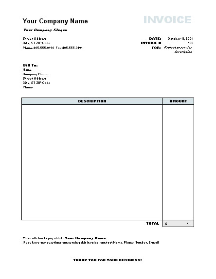 Work Invoice Template Word invoice example