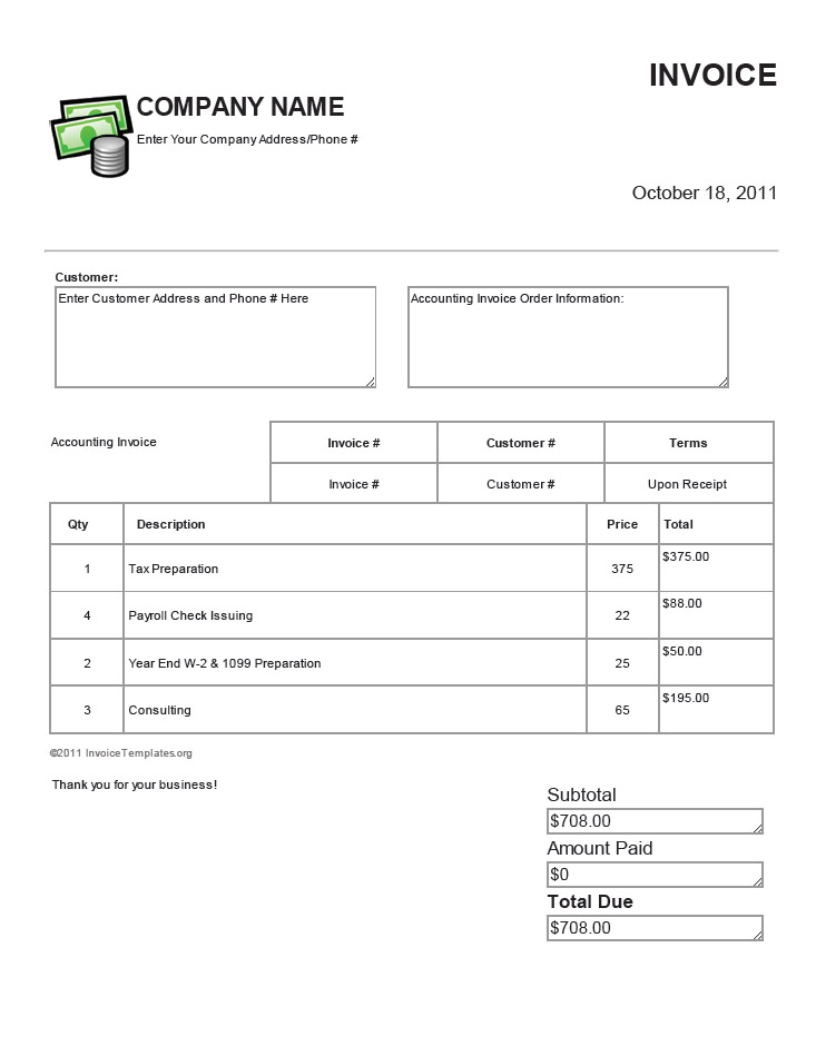 bookkeeping invoice template - Onwebioinnovate - Free Basic Invoice Template