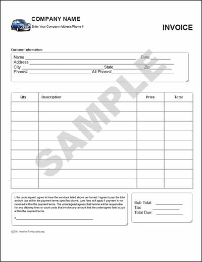 sales invoice for a used car | cover letter sample for job, Invoice templates