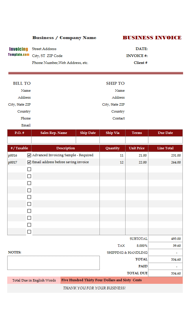 invoice template for website development