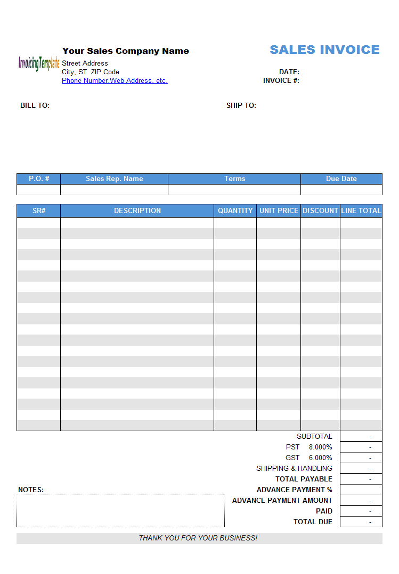 spreadsheet invoice
