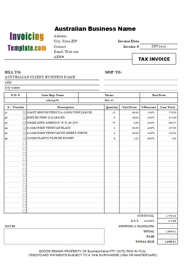 australian invoice sample