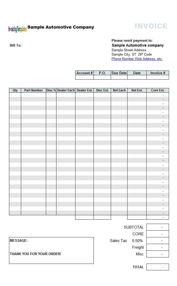 parts invoice template