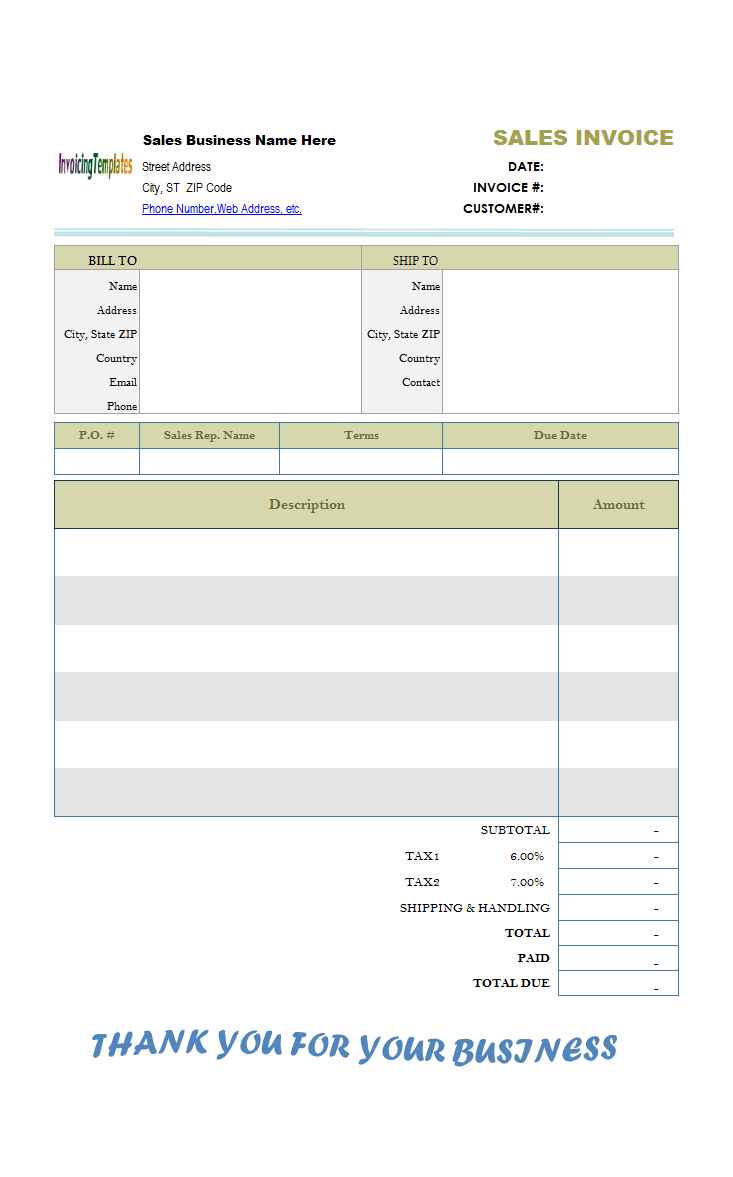 accounting invoice template