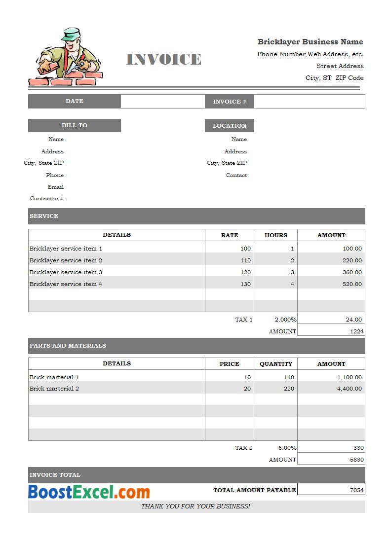 invoice format pdf
