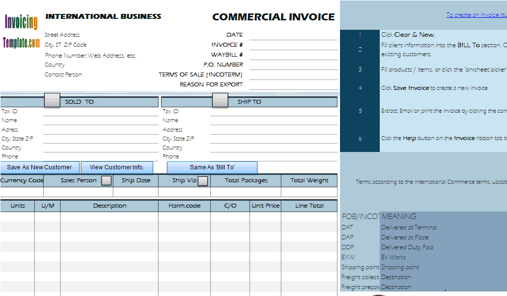 international shipping invoice template