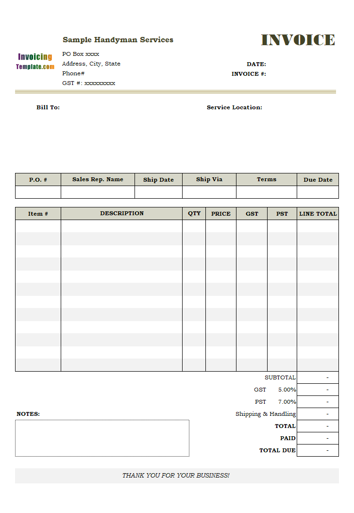 electrical shop bill format
