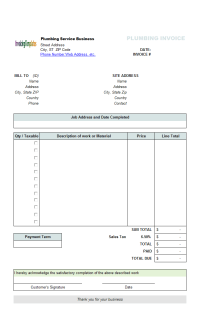 Plumbing Service Invoicing Sample (Sales Tax)