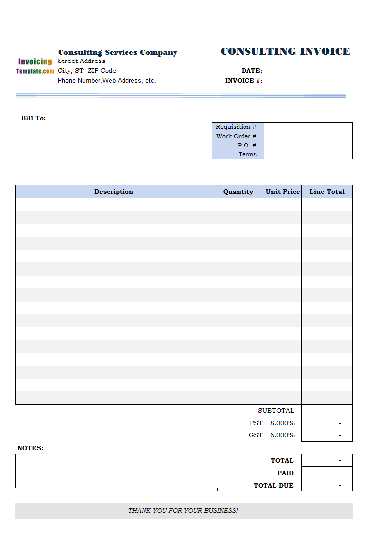 sample invoice for consulting