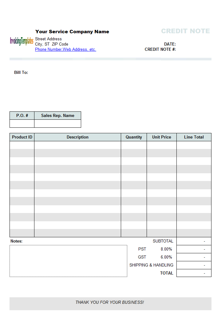 sample of credit note format