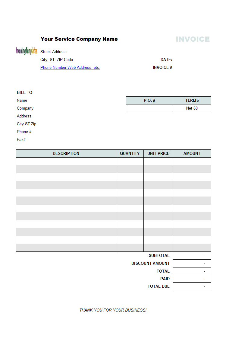 invoice for professional services template